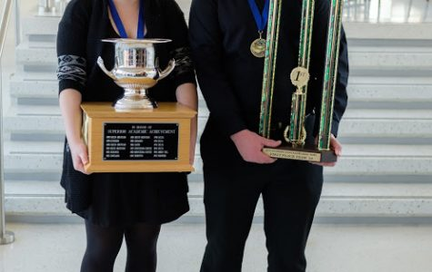Anij Magill (Captain) and Matthew Chambers pose with their wins after the Knowledge Bowl in CSU Fort Collins.