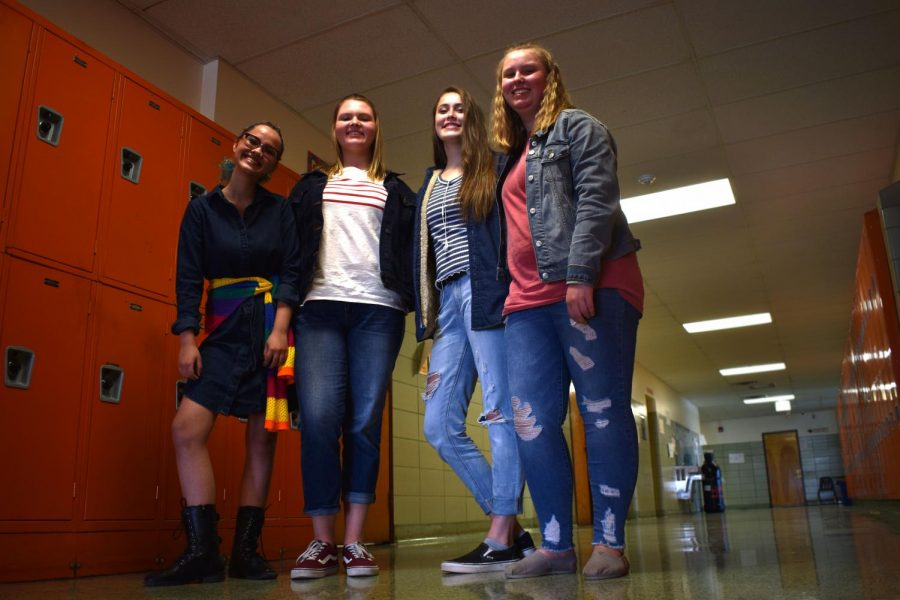 (From left to right) Sarah Fuchs, Riley Applegate, Lexi Heley, Emma Ellis. A group of freshman stand together to show off their participation of denim day during the homecoming spirit week.