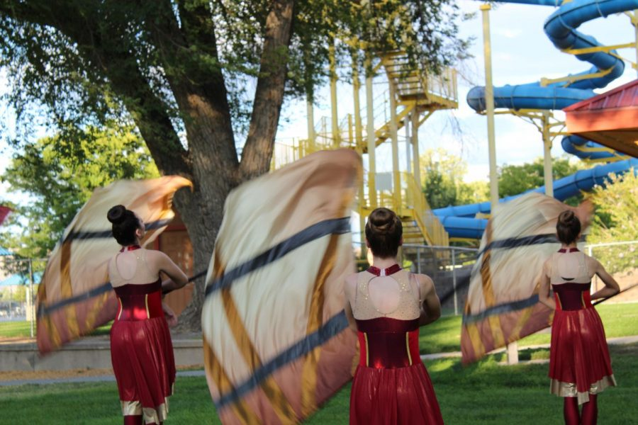 GJHS color guard warms up for their 2019 marching band show