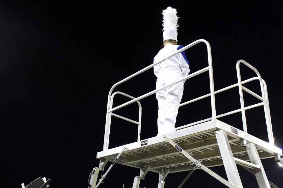 FMHS Drum Major Elizabeth Kennedy leads the band in the 2019 show,