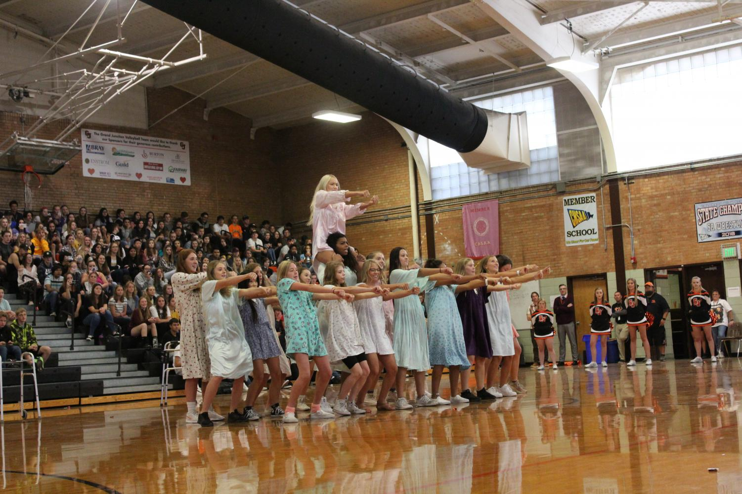 Senior girls during their Homecoming 2019 Senior Dance Off performance.