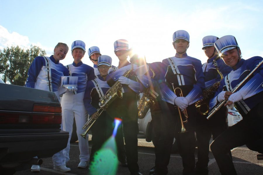 Fruita HS band members get into uniform and head to the stands at Stocker Stadium.