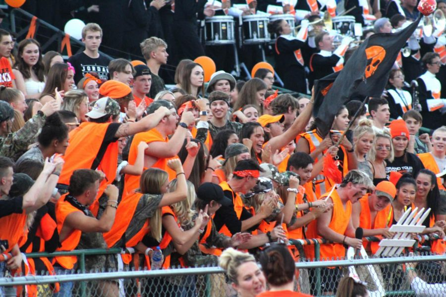 The+Tigers+student+section+getting+pumped+up+before+game+time+against+the+Montrose+Indians.%0A